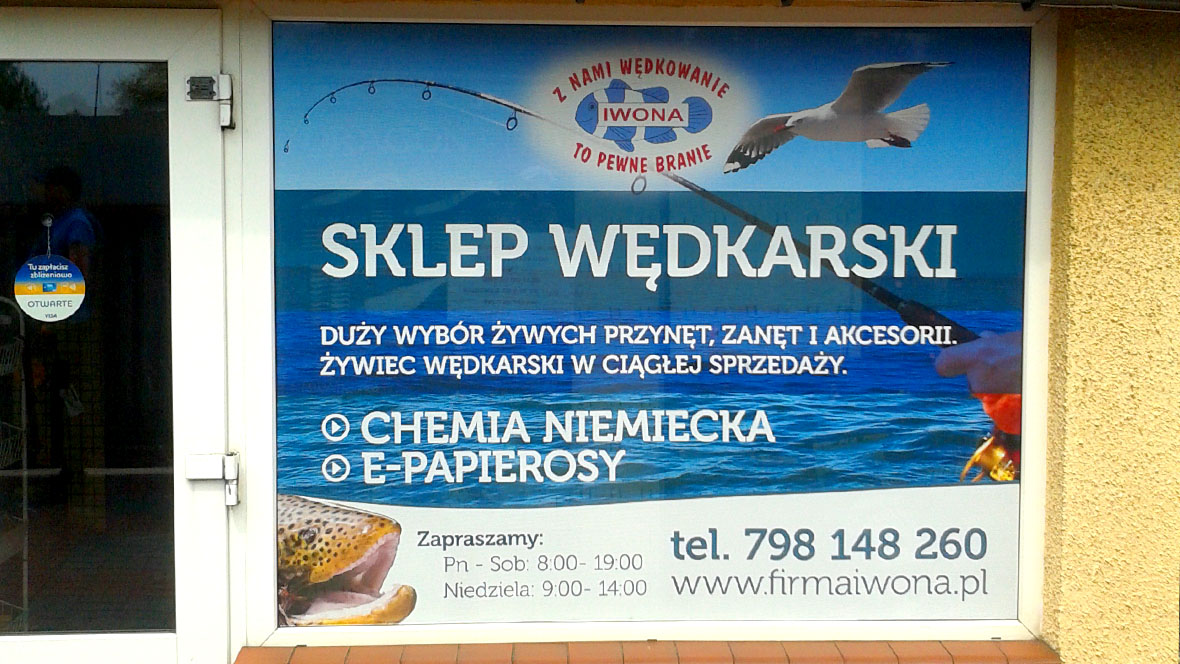 Oklejenie witryny SKLEP WEDKARSKI